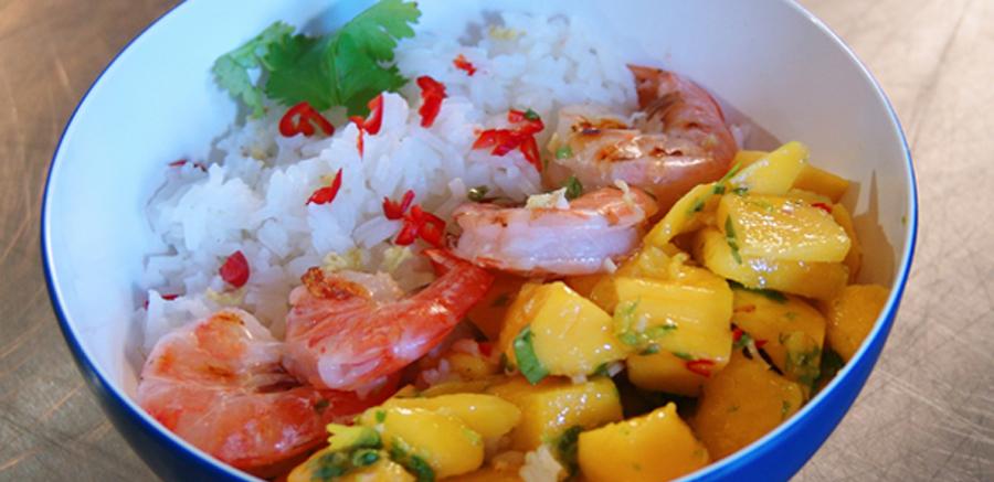 Garnalen & mango-limoensalsa, kokosrijst